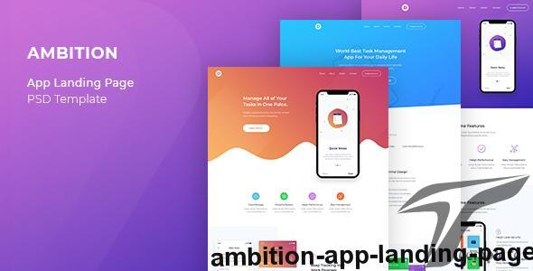 Ambition - App Landing Page by goldenlayers