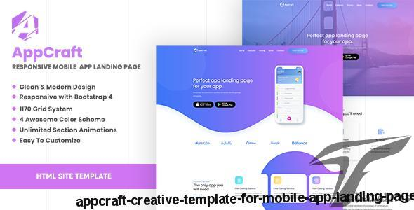 AppCraft - Creative Template for Mobile App Landing Page by cocotemplates