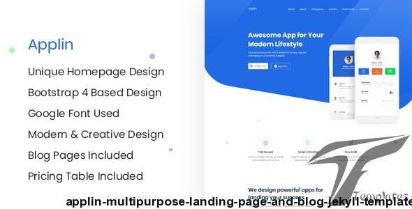 Applin - Multipurpose Landing Page and Blog Jekyll Template by themeix