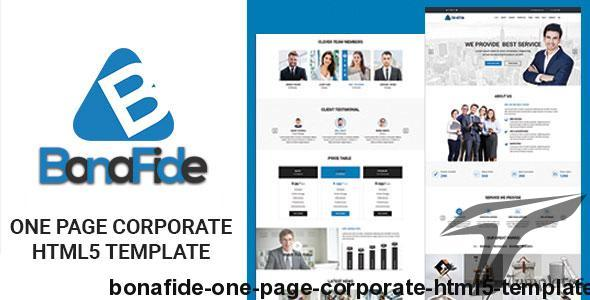Bonafide - One Page Corporate HTML5 Template by mohsin_kabir
