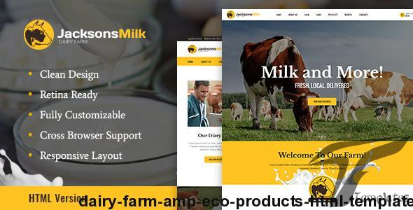 Dairy Farm & Eco Products HTML Template by ancorathemes