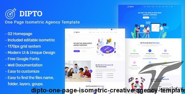 DIPTO - One Page Isometric Creative Agency Template by mk360_themes