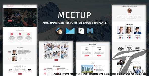 MEETUP - Events Responsive Email Template With Stampready Builder & Mailchimp Access by guiwidgets