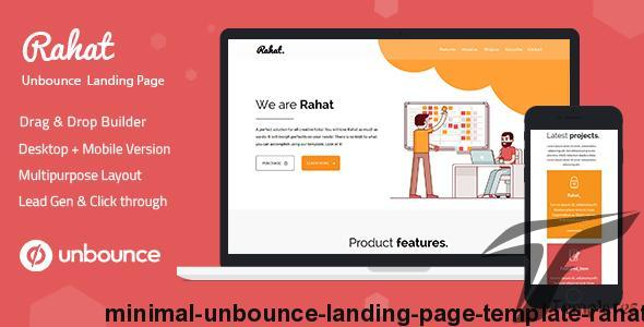 Minimal Unbounce Landing Page Template - Rahat by ilmthemes