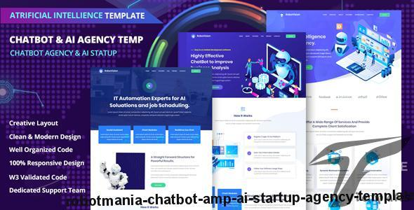 Robotmania – Chatbot & AI Startup Agency Template by light-themes