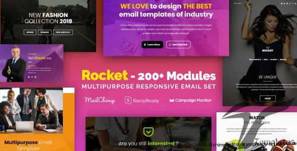Rocket - Responsive Email with 200+ Modules + MailChimp Editor + StampReady + Online Builder by psd2newsletters