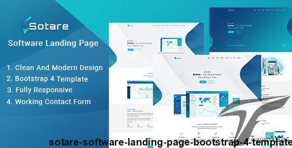 Sotare - Software Landing Page Bootstrap 4 Template by hastech