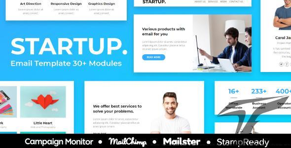 Startup - Agency Responsive Email Template 30+ Modules - StampReady + Mailster & Mailchimp Editor by emailfusion