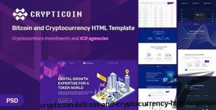Crypticoin - Bitcoin and Cryptocurrency HTML Template By tophive