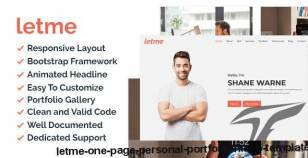 Letme - One Page Personal Portfolio HTML5 Template By brothersclub