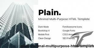 Plain - Minimal Multi-Purpose HTML Template By davidtovt