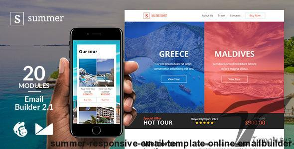 Summer Responsive Email Template + Online Emailbuilder 2.1 By web4pro