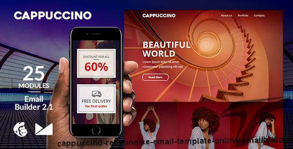 Cappuccino Responsive Email Template + Online Emailbuilder 2.1 By web4pro