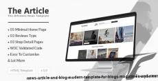 News Article and Blog - Modern Template for Blogs, Magazines and News